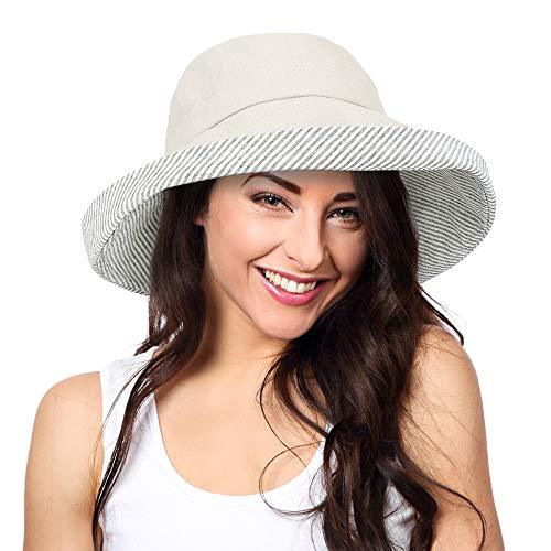 Solaris Sommer-Sonnenhut mit breiter Krempe für Frauen mit Halsabdeckung und verstellbarem Riemen Floppy Faltbarer UV-Schutz-Eimerhut zum Wandern Angeln Garten Safari Beach