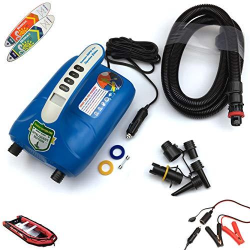 Seamax Intelligente digitale und doppelstufige 12 V elektrische Luftpumpe mit 20 PSI, entworfen für aufblasbares Boot, SUP und Paddling-Brett, erreicht schnell Hochdruck