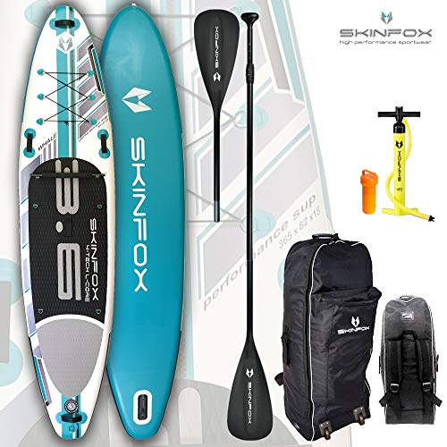 SKINFOX Whale aufblasbares 4-lagiges Inflatable SUP Paddelboard Stand Up NEUSTE SUP Generation 4 TECH L-CORE (365x82x15/Tragkraft