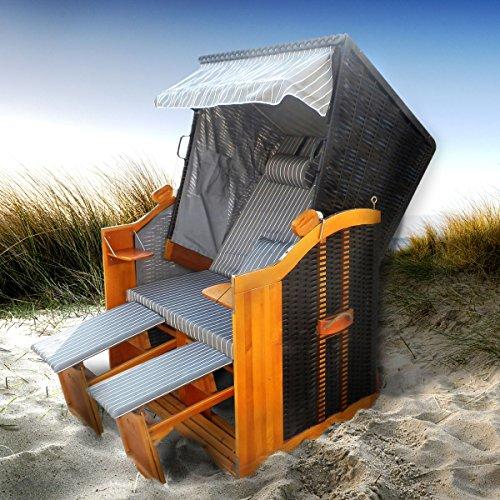 BRAST Strandkorb Deluxe 2-Sitzer XXL für 2 Personen 120cm breit mehrere Designs incl. Abdeckhaube Farbe Anthrazit/Grau/Gestreift Ostsee