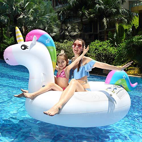 Luftmatratze Wasser infinitoo Aufblasbares Einhorn Luftmatratze Pool PVC Aufblasbar Schwimmtier Wasserspielzeug Pool Floß für 1-2 Erwachsene/Kinder Inkl. 5 Flicken