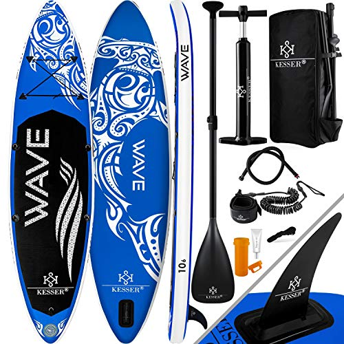 KESSER Aufblasbare SUP Board Set Stand Up Paddle Board | 320x76x15cm 10.6' | Premium Surfboard Wassersport | 6 Zoll Dick | Komplettes Zubehör | 130kg, Blau